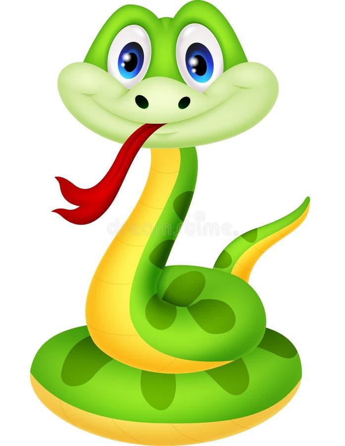 Милый шарж зеленой змейки бесплатная иллюстрация