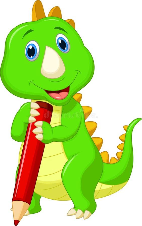 Милый шарж динозавра держа красный карандаш иллюстрация штока