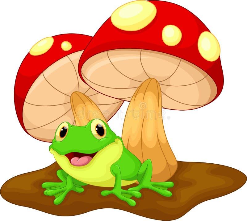 Милый шарж и грибы лягушки иллюстрация вектора