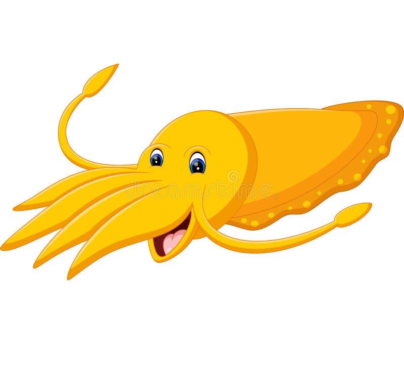 Милый шарж кальмара иллюстрация вектора