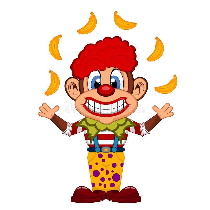 Милый шарж обезьяны клоуна бесплатная иллюстрация