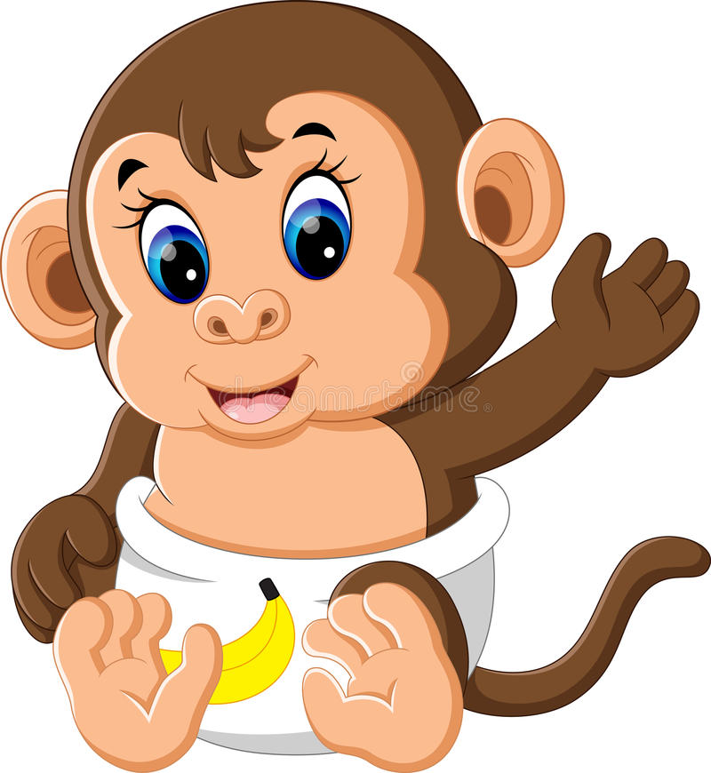 Милый шарж обезьяны младенца иллюстрация вектора