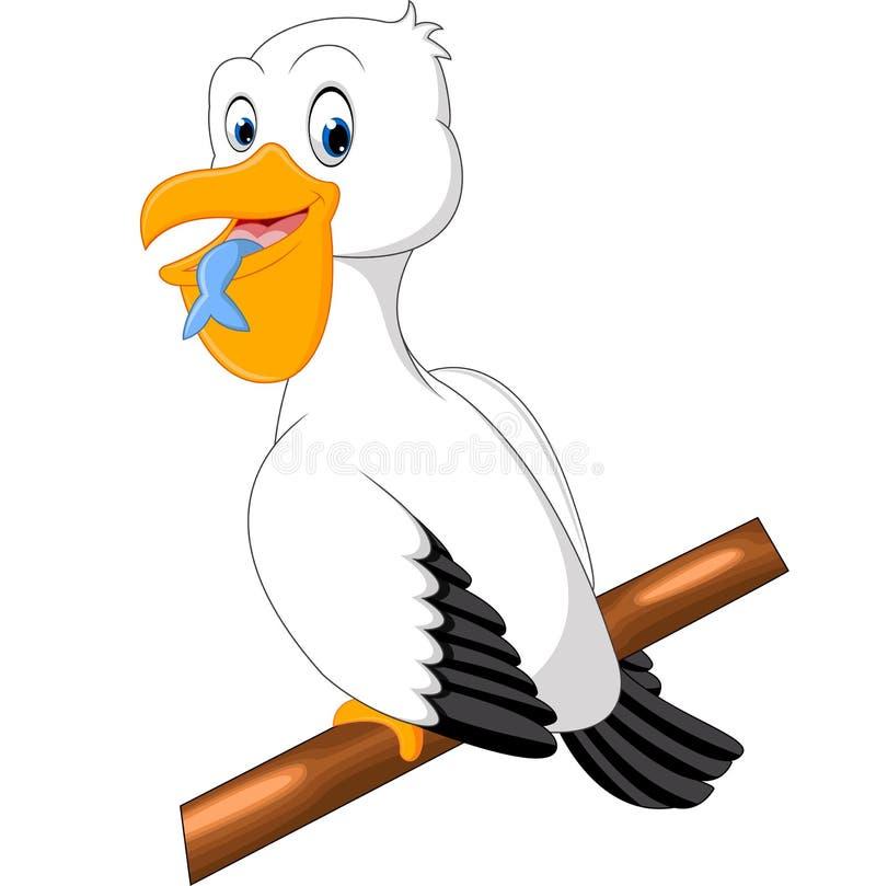 Милый шарж пеликана иллюстрация штока
