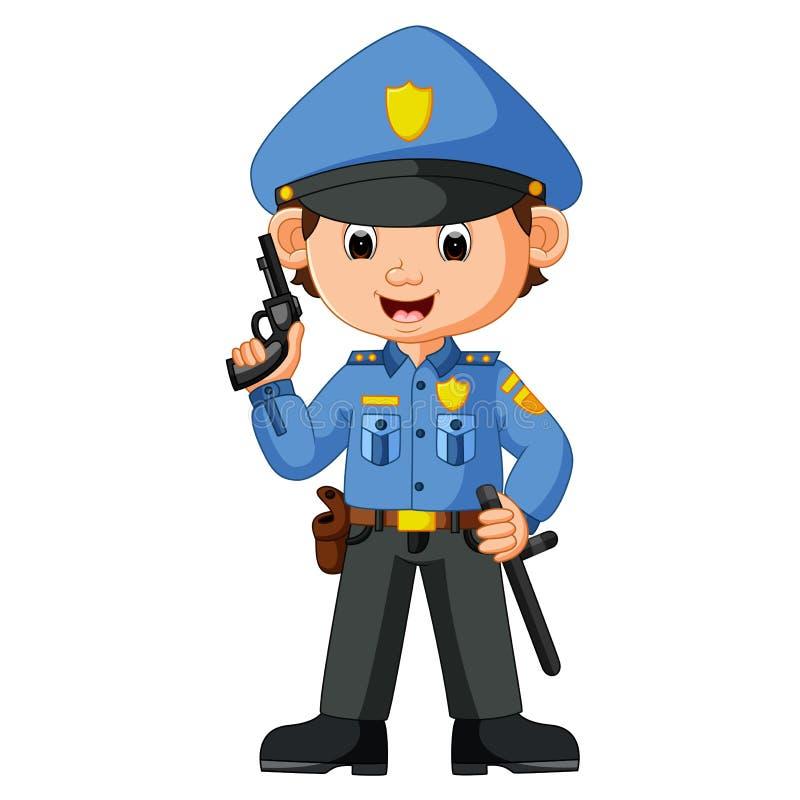 Милый шарж полицейския бесплатная иллюстрация