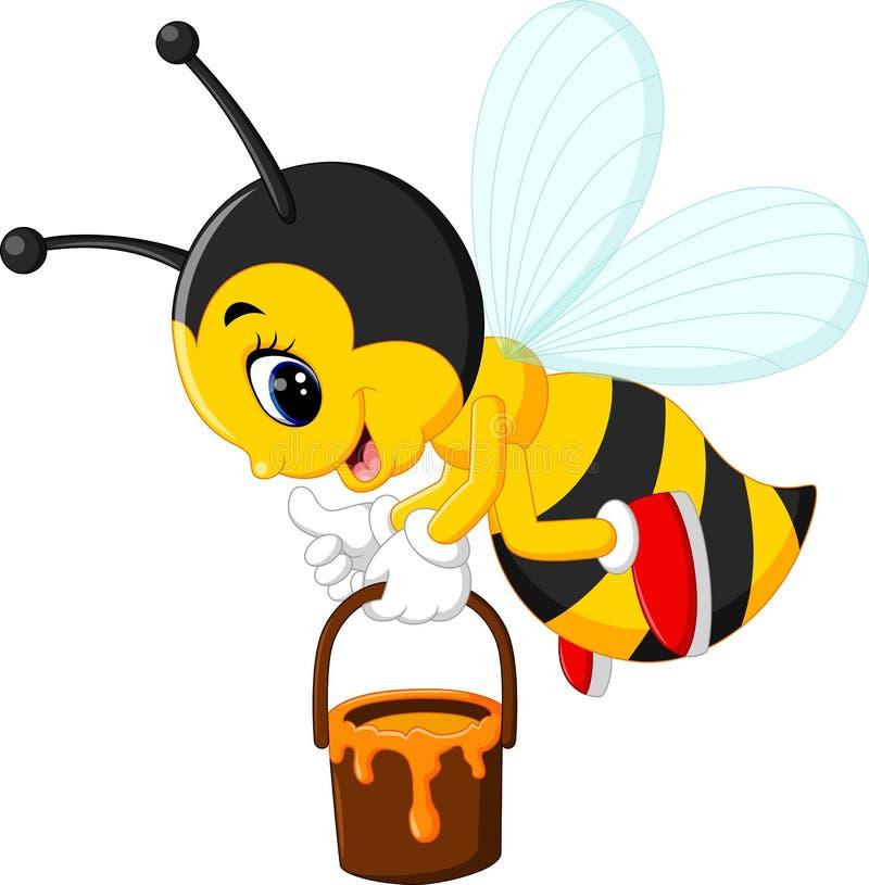 Милый шарж пчелы иллюстрация вектора