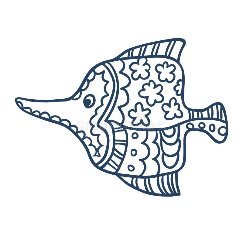 Милый шарж рыб, линия искусство, крася иллюстрация вектора