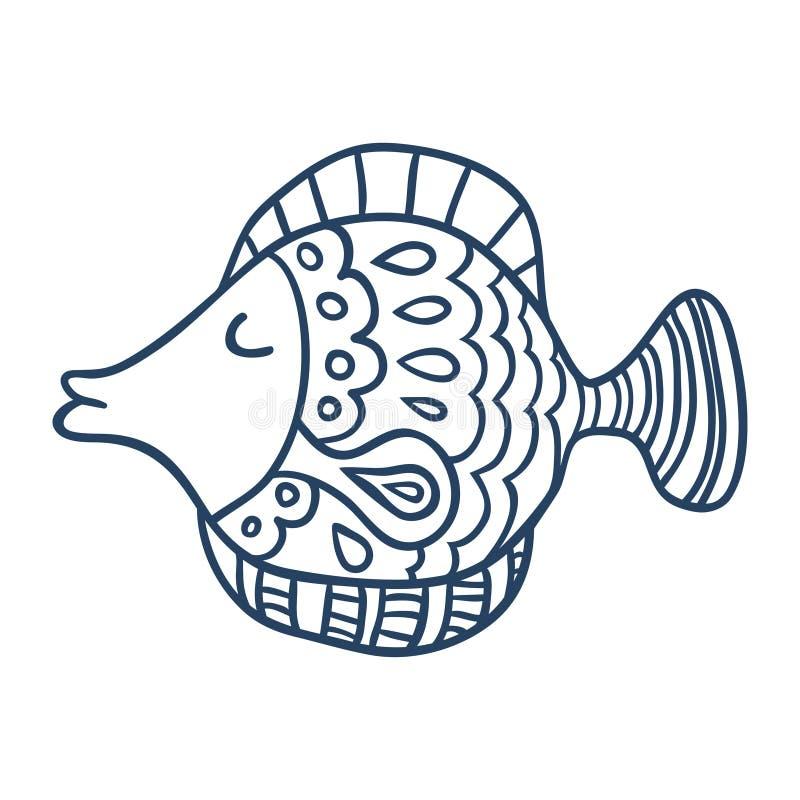 Милый шарж рыб, линия искусство, крася бесплатная иллюстрация