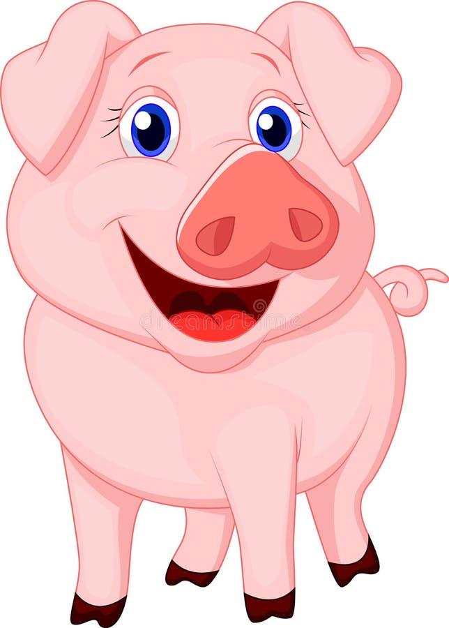 Милый шарж свиньи иллюстрация вектора