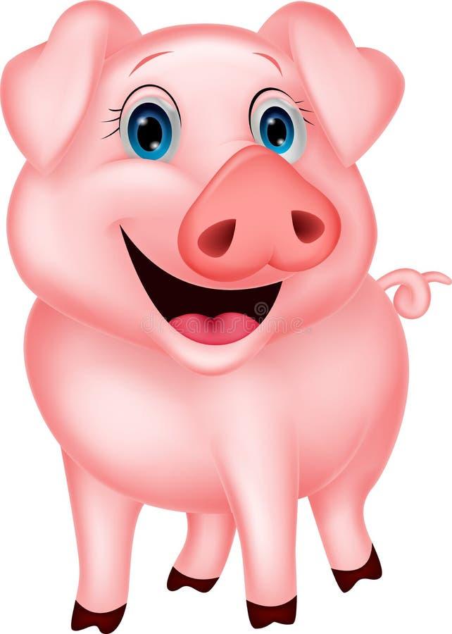 Милый шарж свиньи иллюстрация штока