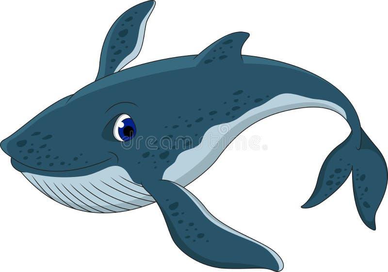 Милый шарж синего кита иллюстрация штока