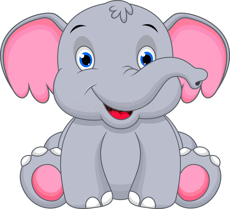 Милый шарж слона младенца стоковые изображения