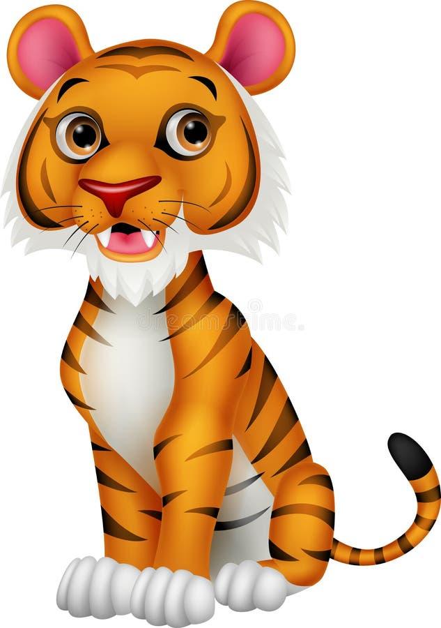 Милый шарж тигра иллюстрация вектора