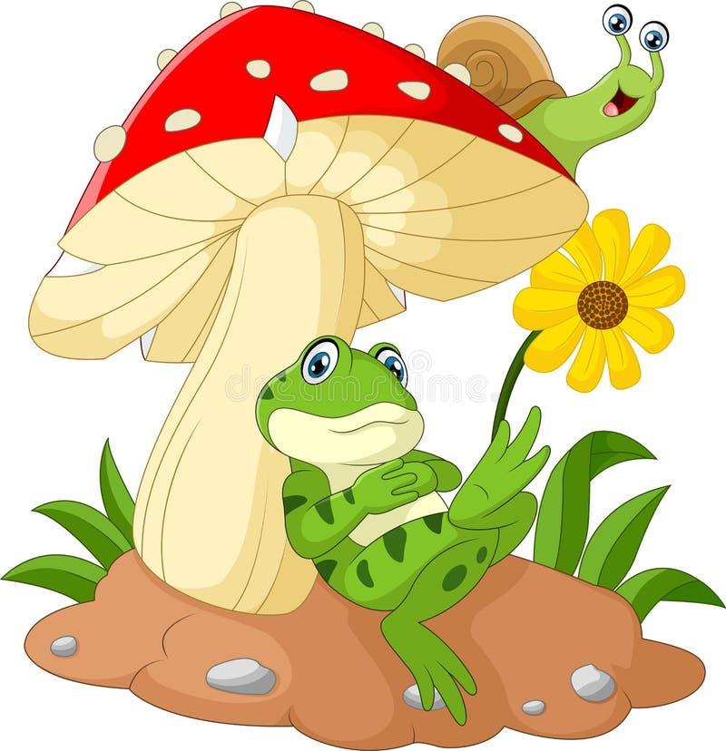Милый шарж лягушки и улитки с грибами бесплатная иллюстрация