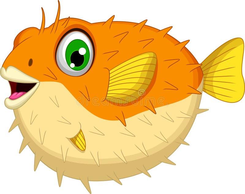 Милый шарж holocanthus Blowfish или diodon иллюстрация штока