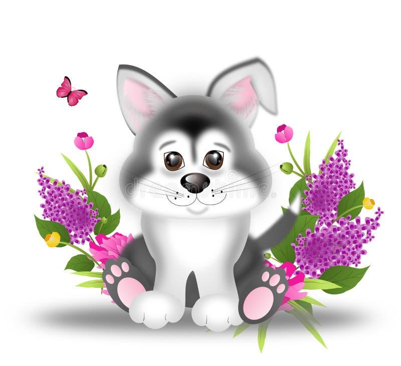 Милый щенок сибирской лайки с цветками иллюстрация штока