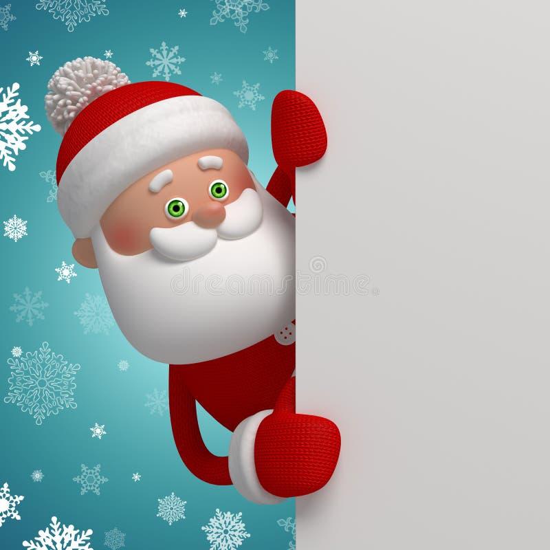 Милый 3d шарж Санта Клаус держа знамя бесплатная иллюстрация