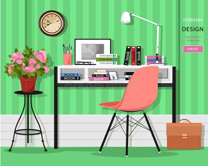 Милый grahic интерьер комнаты домашнего офиса с столом, стулом, лампой, книгами, сумкой и цветками бесплатная иллюстрация