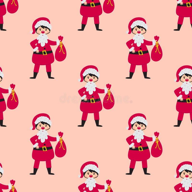 Милый santa ягнится нося праздники детей безшовной картины маленьких людей характеров вектора костюмов рождества жизнерадостные иллюстрация штока