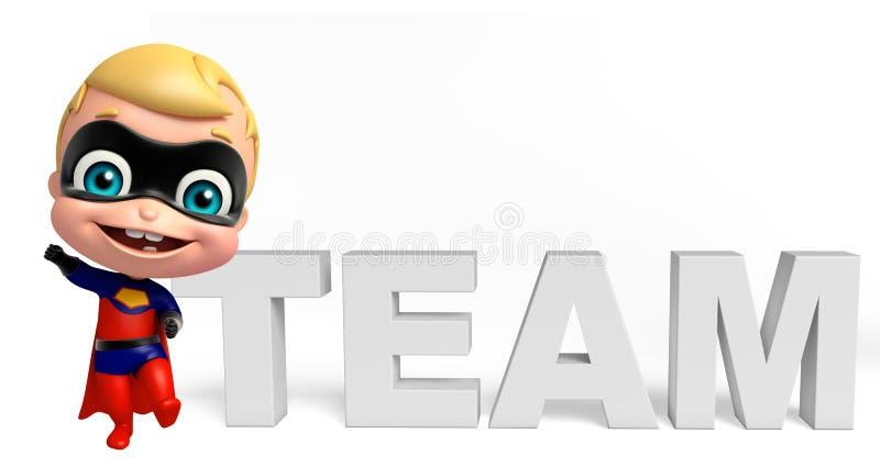Милый superbaby с знаком команды иллюстрация вектора