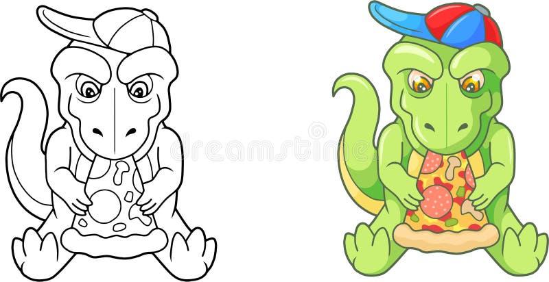 Милый tyrannosaur ест пиццу бесплатная иллюстрация