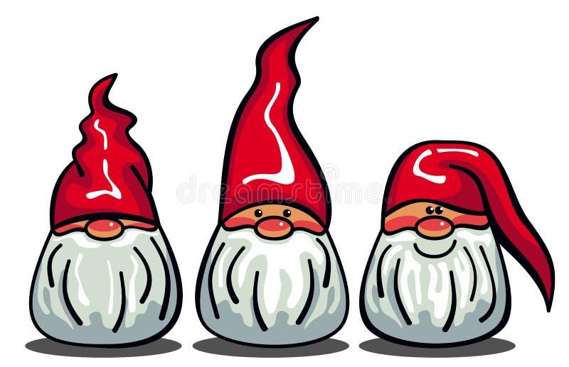 3 милых гнома с белыми бородами и длинными красными шляпами иллюстрация штока