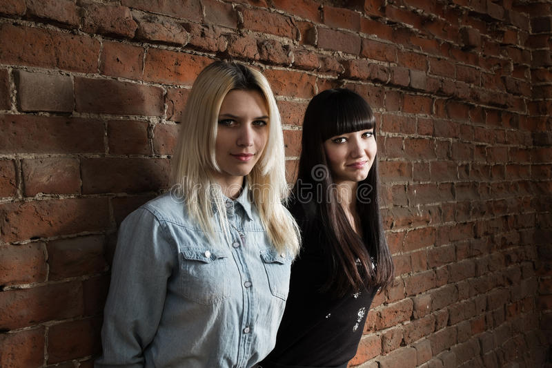 2 милых девушки битника представляя против красной кирпичной стены стоковое фото rf