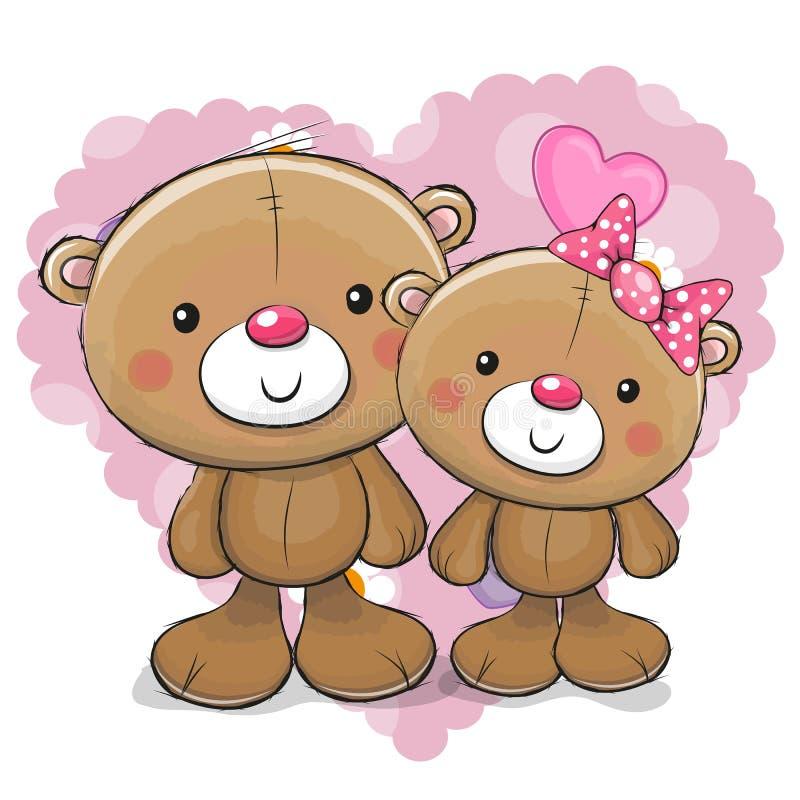 2 милых медведя шаржа иллюстрация штока