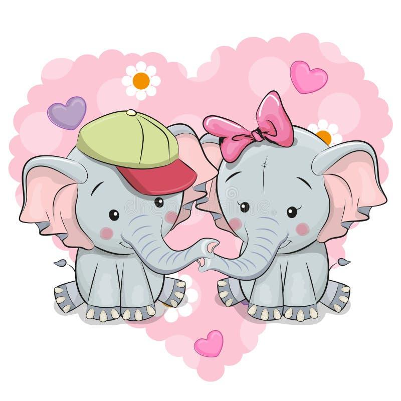 2 милых слона шаржа иллюстрация вектора