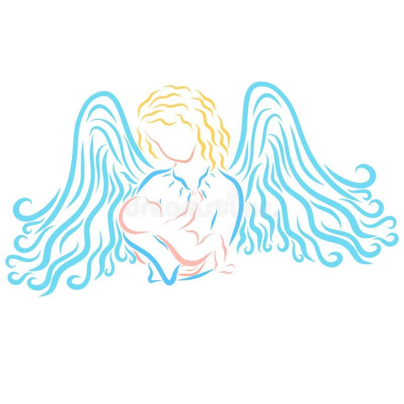 Младенец в руках, утешении и предохранении от ангелов иллюстрация вектора