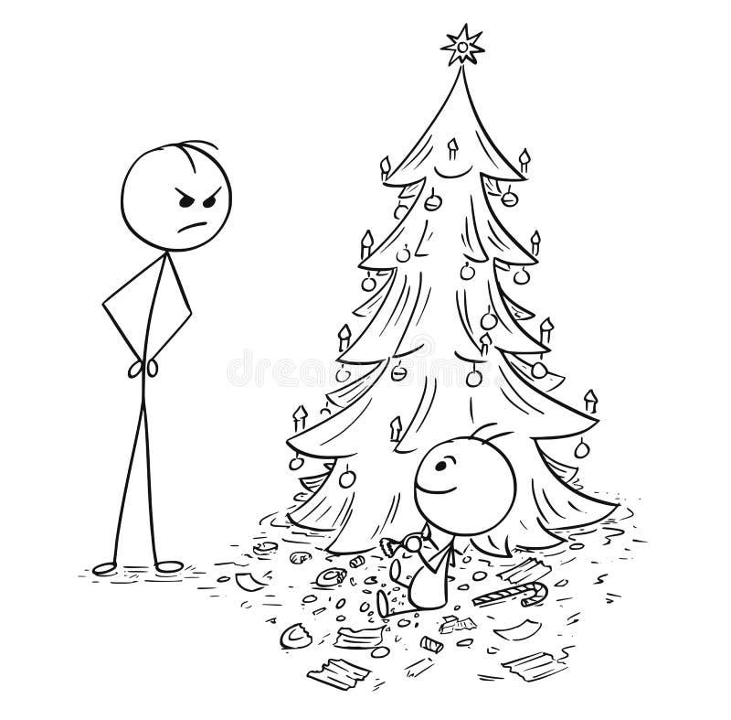 Младенец ест всю конфету от рождественской елки без разрешения бесплатная иллюстрация