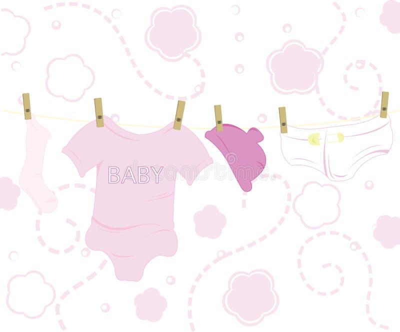младенец одевает пинк конструкций иллюстрация вектора