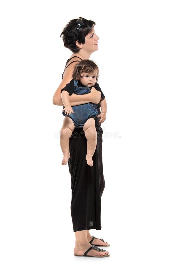 младенец польностью ее женщина портрета длины стоковое фото