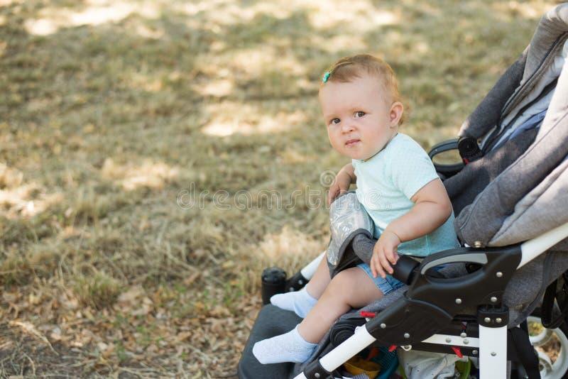 Младенец сидя в прогулочной коляске, предпосылке природы с космосом экземпляра o стоковое изображение rf