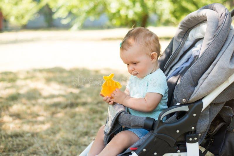 Младенец сидя в прогулочной коляске, предпосылке природы с космосом экземпляра o стоковые фото