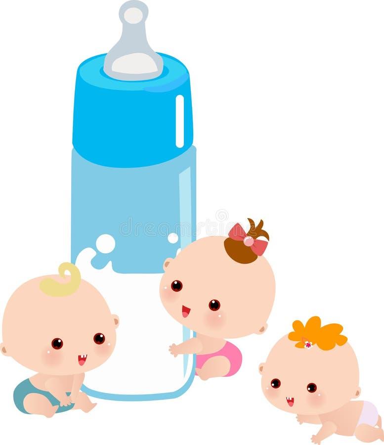 Младенец с большой бутылкой молока иллюстрация вектора