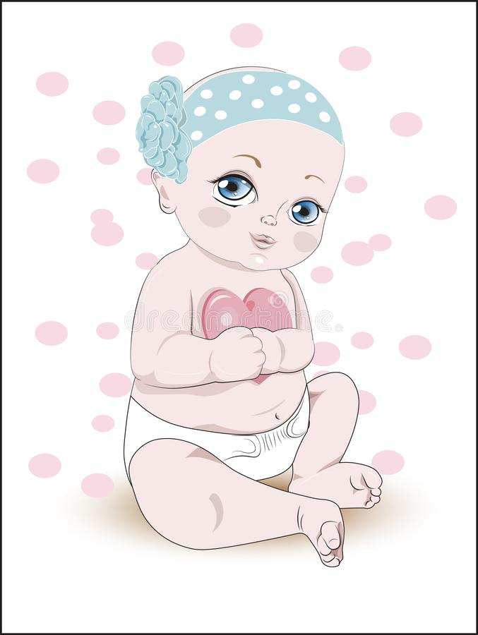 Младенец с сердцем иллюстрация вектора