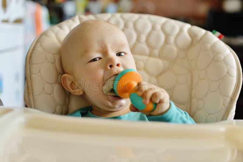 Младенец с nibbler стоковые фотографии rf