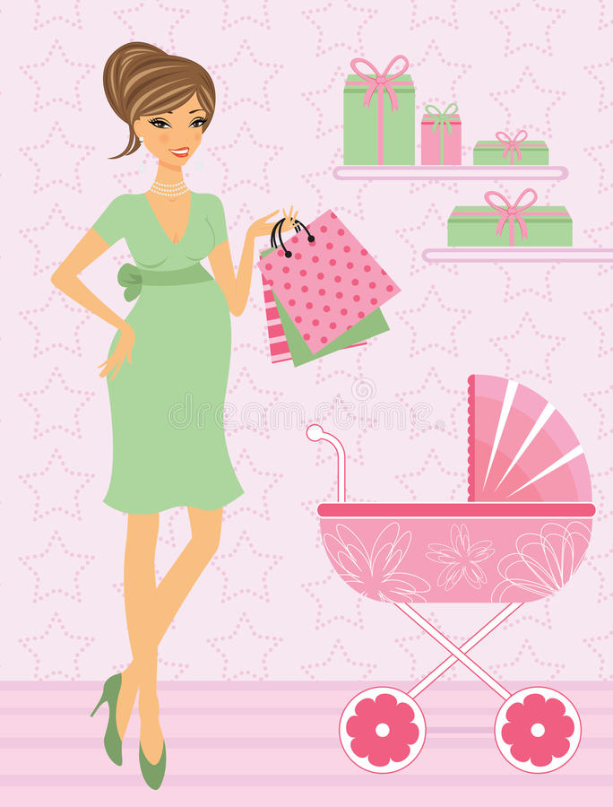младенец шикарн ее мама ходя по магазинам к предстоящему иллюстрация штока