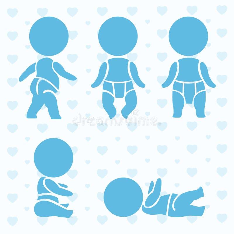 Младенцы значков newborn также вектор иллюстрации притяжки corel стоковые изображения rf