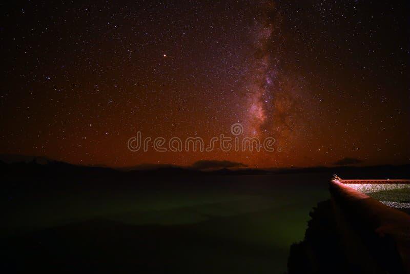 Млечный путь озера Pumoyongcuo стоковое фото