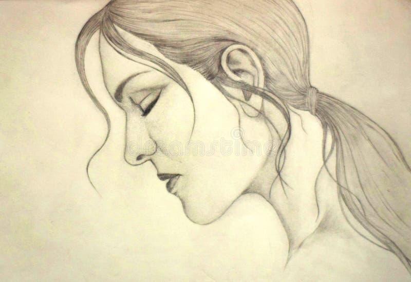 Мнимый чертеж эскиза стороны дамы стоковые изображения rf