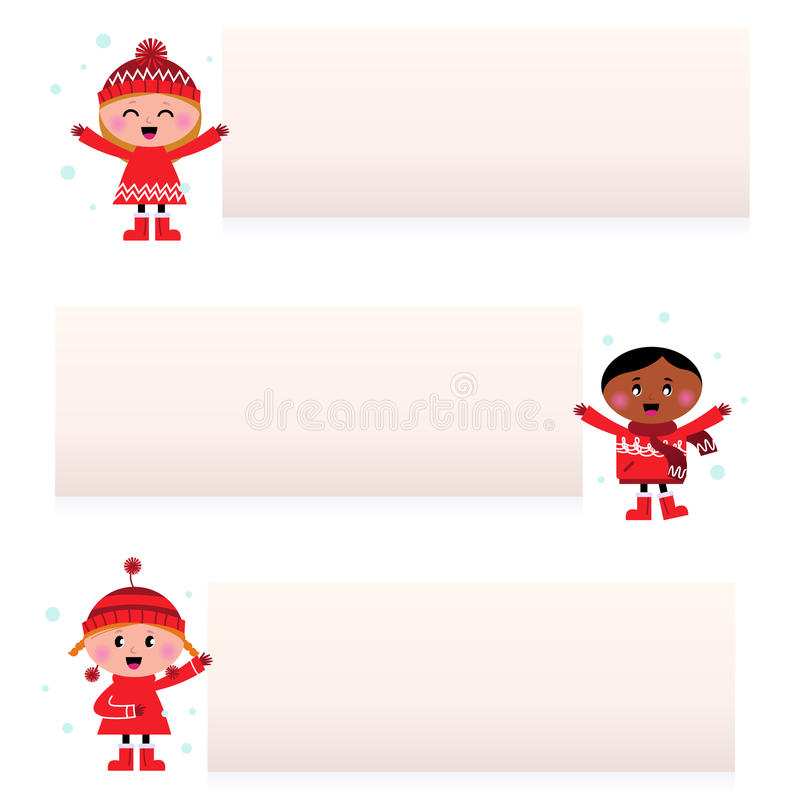 многокультурное пустых детей знамен милое иллюстрация штока