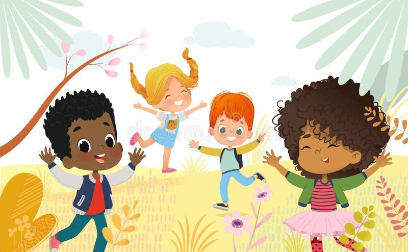Многокультурные мальчики и девушки счастливо скачут Дети играют outdors Красочные цветки и деревья на предпосылке иллюстрация вектора