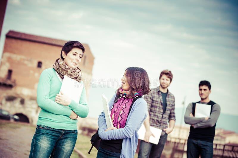 Многокультурные студенты колледжа на парке стоковые изображения rf