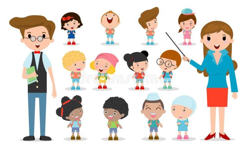 Многокультурная школа ягнится группа, учитель и студенты, дети идут к школе, назад к шаблону школы при дети изолированные на бели иллюстрация штока