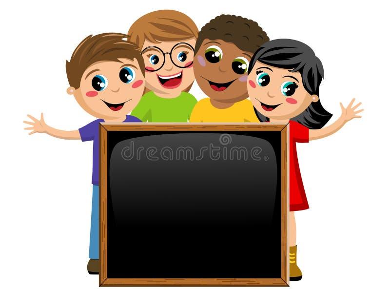 Многокультурные дети или дети за пустой изолированной доской классн классного иллюстрация вектора