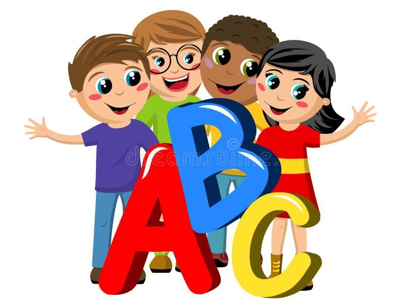 Многокультурные изолированные письма abc детей или детей школы бесплатная иллюстрация