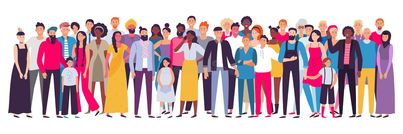 Многонациональная группа людей Общество, многокультурный портрет общины и граждане Детеныши, взрослый и старшие люди бесплатная иллюстрация