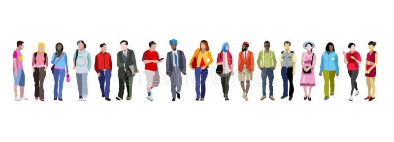 Многонациональное знамя группы людей иллюстрация штока