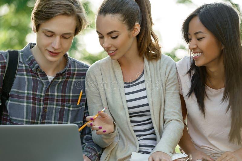 Многонациональная группа в составе молодые усмехаясь студенты используя портативный компьютер стоковая фотография rf